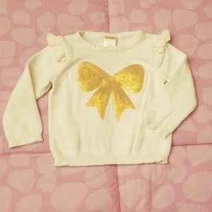 Gymboree Baby Girl Ivory Sweater w/Gold Sequin Bow